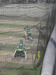 Aussies in the nets before the start of day 4 - inspiring hundreds of families there as well.
