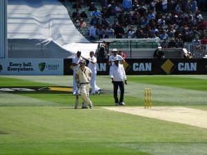 Early on in 2nd session day 4 - Rogers waits for yet another long Cookie conference between overs. But the ton still came!
